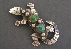 Vintage Navajo Sterling Silver Turquoise Lizard Pin Signed AC