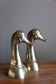 Vintage Large Brass Duck Head Bookends by CaprockVintage on Etsy, $45.00