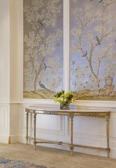 papier peint de couloir, habiller les murs du couloir en chinoiserie douce