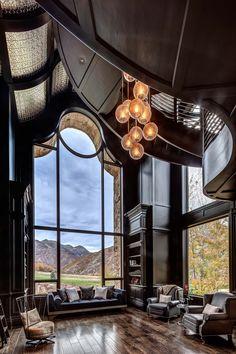 Design Living Room, Eclectic Living Room, Scandinavian Interior Design, Luxury Interior Design, Mountain Dream Homes, Stone Mansion, Lounge, Living Room Remodel, Living Room Lighting