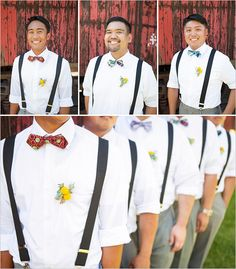 Groomsmen in white shirts, dark suspenders and colorful bowties..