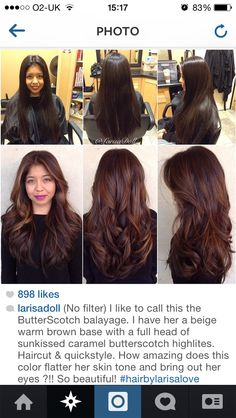 My next hair style. Butterscotch balayage. Biege warm brown base colour with a full head of sun kissed caramel butterscotch highlights. Balayage ombré highlights. Beautiful winter colour.