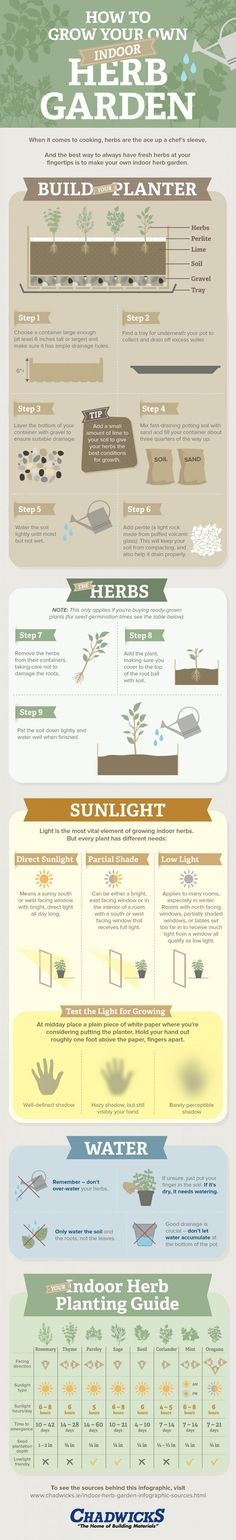 Want to grow an Indoor Herb Garden? Learn everything you need to know in these 7 INFOGRAPHICS that'll teach you everything about growing herbs indoors.