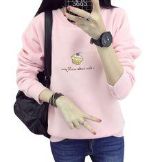 Mujeres del Invierno del otoño Helado Sweathirt Floja Gruesa Cashmere Tops Hoodies Lindos Carta Camisa Rosa/Azul Con Capucha moleton feminina