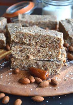 Almond Coconut Protein Bars with Hemp Seeds - Vegan, GF, No-Bake