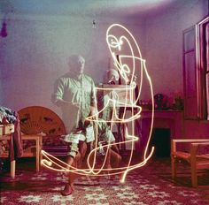 Pablo Picasso experiments with a long exposure light painting in 1949.  Here the father of Cubism was the subject, as well as the artist.  He had been introduced to long exposure light painting by an Albanian photographer called Gjon Mili and together they produced 30 photos, including drawings of bulls, centaurs and his own signature.