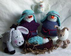 Crochet snowman manger scene