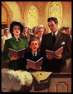 "VINTAGE 1950'S ""SINGING HIS PRAISE"" FAMILY CHURCH CALENDAR ART PRINT | Collectibles, Advertising, Merchandise & Memorabilia | eBay!"