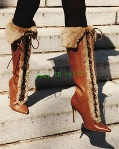 618d799a62b Fur Lining Sheep Leather Women s Pointy Toe Knee High Boot Winter Roma Warm  Boot Roma Boots