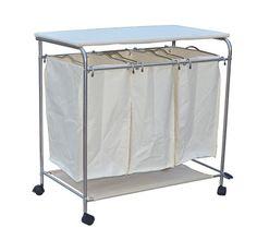 38 homcom 3bin rolling laundry hamper sorter cart w wheels ironing board