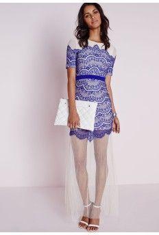 Lace Overlay Maxi Dress Cobalt Blue