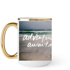 Adventure Awaits Mug, Gold Handle, 15 oz, White