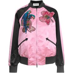Valentino Appliquéd silk-satin bomber jacket (1.300.220 CLP) ❤ liked on Polyvore featuring outerwear, jackets, pink, bomber jackets, pink sequin jacket, valentino jacket, sequin jacket and embellished jacket