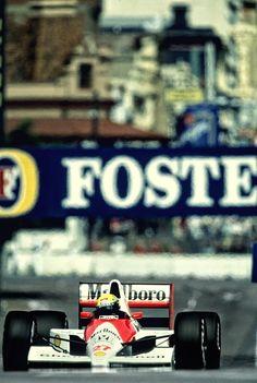 Ayrton Senna (Honda Marlboro McLaren) at the 1990 Australian Grand Prix at Adelaide