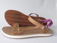 Teva Slim Universal Sandals Women's Tan Classic Three-strap Leather Sandals 8 #Teva #AnkleStrap