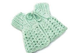 Baby Sweater in Crochet - Green Sleeveless Cardigan - Handmade by Amanda Jane in Ireland