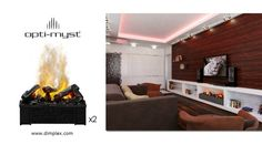 Custom Opti-Myst Cassette (Large) Fireplace using 2 units Home Comforts, Baseboards, Electric Fireplaces, The Unit, Tv Walls, Outdoor, Outdoors, Outdoor Games, The Great Outdoors