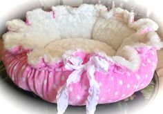 POLKA PARTY (New Design): Polka Dot (Pink or Lavender) Minky and White or Lavender Rosette Minky Dog Bed on Etsy, $50.00