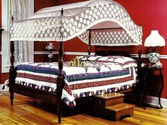 Fishnet Canopy Queen Size - Lovers Knot Design (others available) Queen Size Canopy Bed, Queen Beds, Canopy Frame, Canopy Cover, Canopy Design, Bed Design, Neutral Bedrooms, Masculine Bedrooms, White Bedrooms