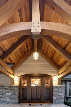 cypress door and timbers with curved trusses