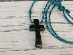 Handmade Mens Wooden Cross Necklace in Ebony by TheLotusShop on Etsy, $16.95