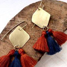 Tassel earrings gold jewelry brass Boho chic earrings Long