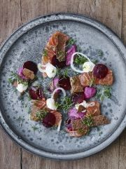 """Spring dishes from Claus Meyer's """"Meyers Køkken"""" -- focusing on fresh produce and new Nordic cuisine."""