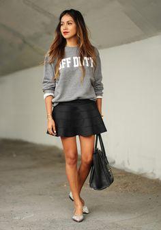 Parisienne. Sweatshirt with short skirt.