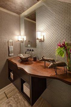 Live Edge Bathroom Counter eclectic bathroom with storage Eclectic Bathroom, Rustic Bathrooms, Bathroom Interior, Bathroom Ideas, Serene Bathroom, Bathroom Designs, Ideas Baños, Decor Ideas, Toilette Design