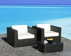 Outdoor Patio Furniture All-Weather Wicker 3 Pc Arm Chair Set This amazing outdoor sectional set comes in 2 different pieces. It is very functional, stylish and Outdoor Rocking Chairs, Outdoor Dining Chairs, Outdoor Sectional, Wicker Sofa, Wicker Furniture, Rattan, Pool Furniture, Patio Furniture For Sale, Outdoor Furniture Sets