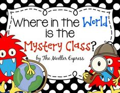 Where in the World is the Mystery Classroom?  These printables will help you find the Mystery City, State or Country.  Use a virtual connection such as Skype, Google Hangout, Facetime, etc... to connect to classrooms all over the world.