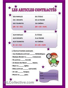 les articles contractés - fiche d'exercices - fiches pédagogiques gratuites FLE
