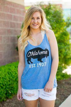 Oklahoma bison skinny strap tank top