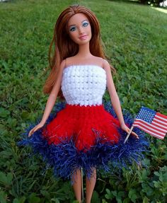 Happier Than A Pig In Mud: Patriotic Barbie Dress for Labor Day-Crochet