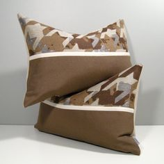 PAIR of Brown Grey Indoor Outdoor Sunbrella Pillow Covers - only at #Mazizmuse #Sunbrella #SunbrellaPillows