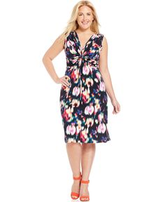 NY Collection Plus Size Twist-Front Printed Dress - Dresses - Plus Sizes - Macy's