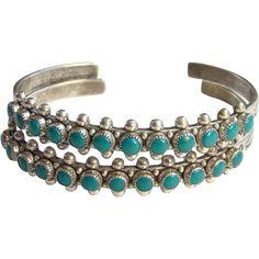 Vintage Zuni Matching Row Cuff Bracelet Pair Sterling Silver Snake Eye Turquoise Native American