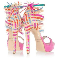 Festively Fringed Footwear The Brian Atwood Mojito Pump Brings the... ❤ liked on Polyvore featuring shoes, pumps, heels, pink, sapatos, scarpe, fringe pumps, summer shoes, high heel pumps and brian atwood shoes