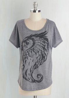 Owl Keep an Eye Out Tee - Mid-length, Knit, Grey, Black, Casual, Owls, Critters, Short Sleeves, Scoop, Grey, Short Sleeve