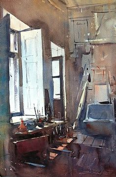 Art studio by Eugen Chisnicean Watercolor ~ 54cm x 36cm