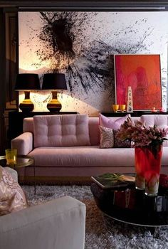 Wow, I love the design and color of this room. Pink sofa with bold art in the interior design 2012 decorating before and after interior room design Decoration Inspiration, Interior Inspiration, Design Inspiration, Design Ideas, Decor Ideas, Design Trends, Interior Ideas, Design Projects, Art Decor