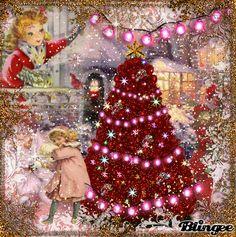 Purple Christmas, Whimsical Christmas, Merry Christmas To All, Christmas Scenes, Vintage Christmas Cards, Christmas Greetings, Winter Christmas, Gifs, Sparkle
