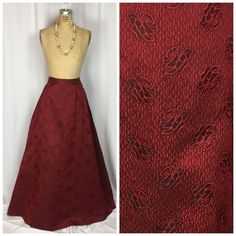 Vintage Victorian Black & Red Cabbage Rose Print Formal Taffeta Ball Maxi Skirt.  | eBay