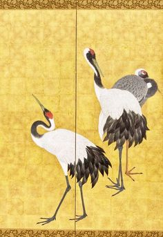 Detail. Cranes | 円山応挙 Maruyama Ōkyo. Japan, 1772. Pair of six-panel screens; ink, color, and gold leaf on paper. LACMA. Crane Tattoo, Gold Leaf Art, Yellow Art, Japan Art, Ink Color, Antique Art, Screens, Roman, Japanese Art