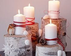 advent candles ideas DIY christmas decoration rustic decor natural materials