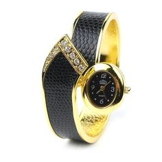 Women Fashion Snake Skin Bangle Cuff Bracelet Wrist Watch Black | eBay