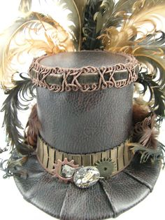 Mini Top Hat - Brown Gears and Time Travel Steampunk Victorian. 70.00, via Etsy. Costume Ideas......