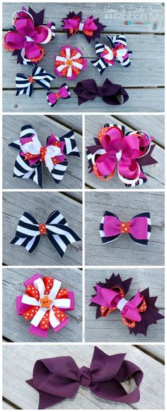 Learn how to make Hair Bows with a Ribbon Mix with this easy tutorial and The Ribbon Retreat's TOTT Hair Bow Instructions. Your bows will be so adorable. Making Hair Bows, Diy Hair Bows, Diy Bow, Hair Ribbons, Ribbon Bows, Ribbon Flower, How To Make Hair, How To Make Bows, Ribbon Retreat
