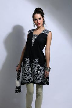 Code - 7251  Black cotton tunic with machine detailing on the front.