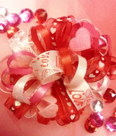 Valentine's Day Heart Loopy Bow by HodgePodgeBowtique on Etsy, $8.50
